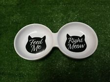 "Cat Bowl Dual Feeder Meow Stoneware Dish Black & White 10"" 2 Cup Capacity"