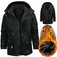 Mens Thick Fur Lined Hooded Coat Zipper Bomber Military Winter Parka Jacket Plus