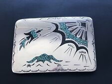 Sterling Silver Native American Turquoise Coral Chip Inlay B.W.JR. Belt Buckle