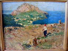 Antique Italian Impressionist Painting, Seascape 1910