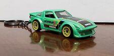 Hot Wheels Mazda Rx7 Pearl Green Keychain Hw Speed Graphics Koni