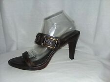BANANA REPUBLIC Shoes Women's Size 10 Brown Pebbled Leather Slides Sandals Heels
