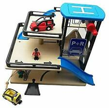 Wooden Toys Vehicle Car Parking Garage with Lift Elevator Set Rail Toy