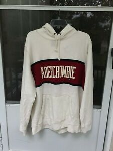 Abercrombie & Fitch COLORBLOCK GRAPHIC HOODIE Off White size XXL
