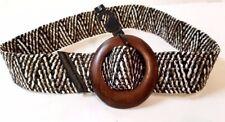 Womens brown cinch waist belt straw wood buckle MSRP $29.90