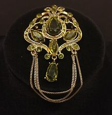 Vintage Signed Monet Peridot Brooch Pin Green Chain Rhinestone Gold Tone