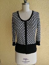 WHBM Black White Cardigan, Sweater, Women knitted Top Size Small