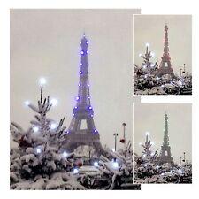 LED Wandbild mit Beleuchtung Pariser Eifelturm im Winter Leuchtbild 15 x 21 cm