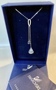 Genuine Swarovski Spirit Pendant Necklace, 2 Crystal Drops, Rhodium Plate