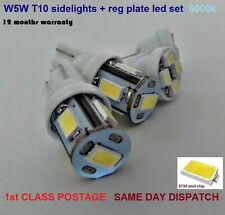 4x LED BULB KIT T10 W5W BRIGHT SIDELIGHT 100lm + REG PLATE 6000k 12mths Warranty
