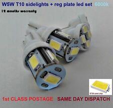4x LED BULB KIT T10 W5W BRIGHT SIDELIGHT 100lm + REG PLATE 6000k 12mths Warranty