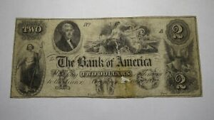 $2 1852 Georgetown D.C. Obsolete Currency Note Bill! Bank of America Washington