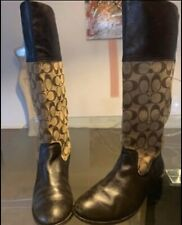 Signature Canvas Leather Chrissi Coach Riding Boots 9B