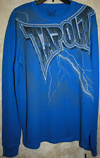 NWT TapouT long sleeve Crew Blue Soft Thermal shirt L Lightning mens Cotton