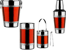 BRAND NEW 4 PIECE RED EFFECT HAMMERED STAINLESS STEEL CHAMPAGNE SET