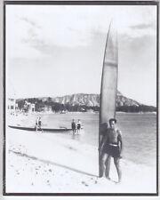 DUKE KAHANAMOKU WAIKIKI 16' BOARD 1935? SILVER HALIDE FOTO ON 8X10 INCH MAT