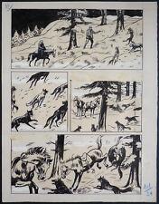 Planche originale De JIM ALASKA dessin de Carlo COSSIO vers 1945 western