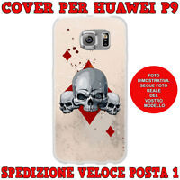 CUSTODIA COVER CASE MORBIDA IN TPU PER HUAWEI ASCEND P9 FANTASIA TESCHIO QUADRI