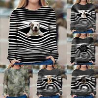 Women's Casual Dog Printed Long Sleeve Round Neck Sweatshirt Tops Shirts Blouse