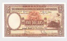 BRITISH QUEEN ELISABETH II Hong Kong 5 Dollars FIVE 1957 P180a Nice Condition