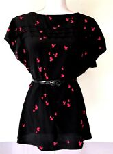 Twelfth Street by Cynthia Vincent Blouse Size S Womens 100% Silk Black Pink
