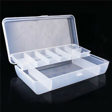 Plastic 2 Tray Compartments Fishing Lure Tackle Box Two-Sided Storage Case