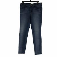 Lou & Grey Womens Mid Rise Dark Wash Skinny Jeans Blue Jeans 27 Sz (4-6)