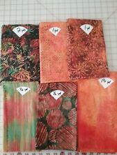 Lot of 6 Batik Fabrics~Fall Colors~Large Pieces
