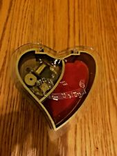 Vintage Lucite Heart Shaped Musical Jewelry Box