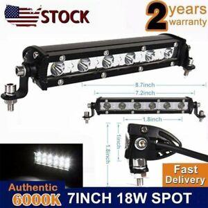 7INCH 18W LED WORK LIGHT SLIM SINGLE ROW BAR DRIVING LAMP for SUV ATV JEEP 6500K