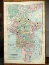 BACON LARGE CITY MAP OF SOUTHAMPTON C1907 - ORIGINAL