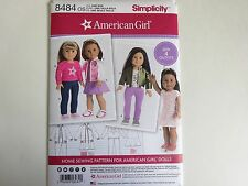 """New Simplicity Sewing Pattern 8484 for American Girl 18"""" Doll Clothes 4 Outfits"""