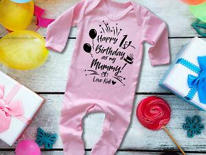 Happy 1st birthday as my Mummy pink long sleeve rompersuit sleepsuit