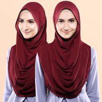 Ladies Women Chiffon Long Scarf Muslim Hijab Arab Head Wrap Scarf Shawl Headwear