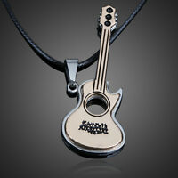 Men's Unisex Stainless Steel Guitar Pendant luxury Necklace Fashion Jewelry  #A