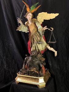 San Michele Arcangelo Saint Michael Quis Ut Deus Santo 63 cm Neapolitan Santon