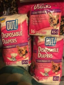 New Out! PetCare, LLC Quantity: 2 and 1/2 16-pack Disposable Female Dog Diapers