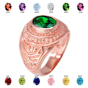 Solid 14k Rose Gold US Air Force Men's CZ Birthstone Ring
