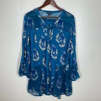 Lucky Brand Women's Boho V Neck Peasant Top Blouse Blue Size 3X