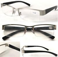 L417B-A Semi Rimless Bifocal Reading Glasses/Spring Hinge & Classic Style Design
