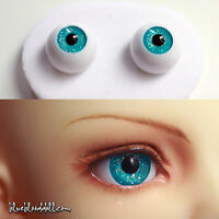 1/3 1/4 bjd 18mm acrylic doll eyes glitter turquoise full eyeball dollfie