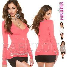 Sexy Women's V-Neck Diamante Jumper Sweater Stylish Knit Top Size 6 8 10 XS S M