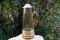 wunderschöner alte Stitze mit Zinndeckel Glas Krug selten 32 cm