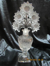 Vintage Imperial Glass Co. Irice Ornate Purfume Bottle - large Sunflower Stopper