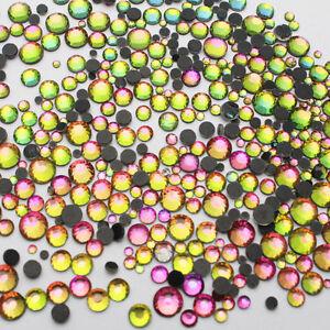 1440pcs Hot-Fix Iron-On Flat-Back Beads Rhinestones Rainbow Colorful SS6 2mm