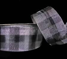 "5 Yards Silver Black Dashing Plaid Metallic Wired Ribbon 2 1/2""W"