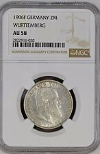 1906 F Germany Wurttemberg 2 Mark Silver NGC AU 58 POP 2