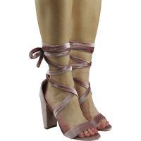 New Ladies Womens High Heel Tie Up Peeptoe Strappy Velvet Sandals Shoes Size