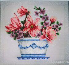 Stickpackung mit Perlen Stickset Stickvorlage Stickbild Blume Floral 62