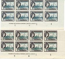 BRITISH VIRGIN ISLANDS 1956 DEFS SG150+150a 1c IMPRINT/PLATE BLOCKS OF 8 MNH